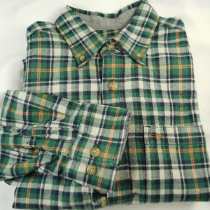 Eddie Bauer Green White Plaid Flannel Shirt Medium